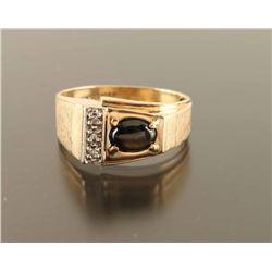 Mens Diamond and Cat Eye Ring Set