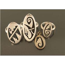 Lot of (3) Hopi Sterling Rings (1) Pendant