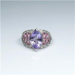Beautiful Amethyst, Pink and Diamond Ring