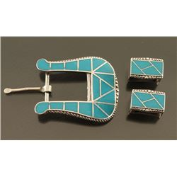 Zuni Turquoise Inlaid Buckle & Keepers