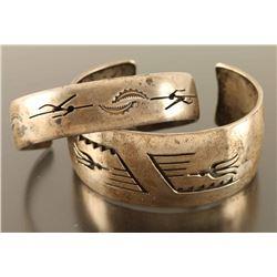 Lot of 2 Hopi Cuff Bracelets