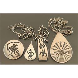 Lot of 4 Sterling Hopi Pendants