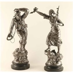 Distress and Rescue Maritime Spelter Statues