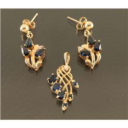 Ladies Shapphire Pendant & Earrings