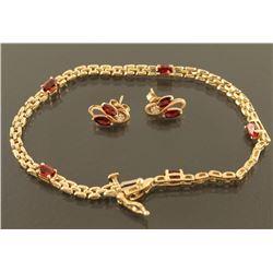 Ladies Garnet Bracelet & Earrings