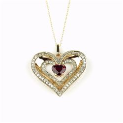 Romantic Triple Heart Shaped Ruby and Diamond