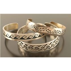 Collection of 3 Hopi Sterling Cuffs