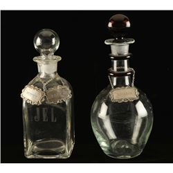 Lot of (2) Glass Liquor Decanters