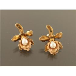 Gold & Pearl Orchid Earrings