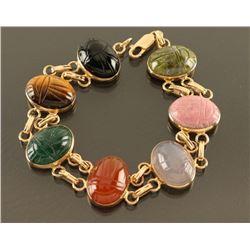 Multistone Scarab Bracelet