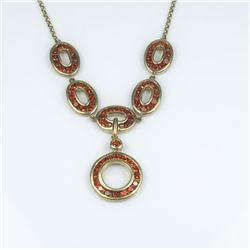 Contemporary Red Garnet Circle Design Necklace