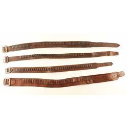 Lot of 4 Antique Cartridge Belts