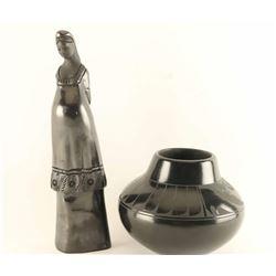 Lot of (2) Blackwear Pottery Items