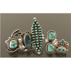 Lot of 5 Navajo & Zuni Rings