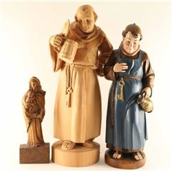 Lot of (3) Carved Religious Figures