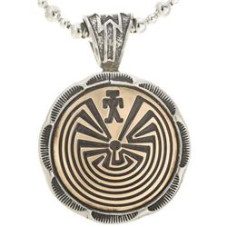 Navajo Gold Silver Man In The Maze Pendant