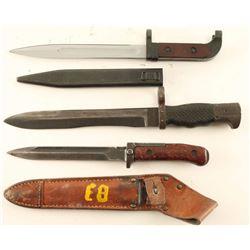 Lot of (3) Bayonets