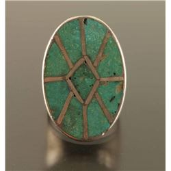 Zuni Turquoise Inlaid Mens Ring