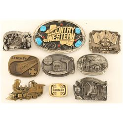 Lot of (9) Railroad Related Belt Buckles