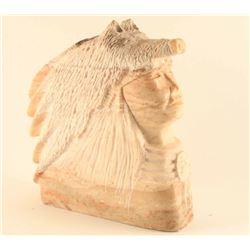 Pink Alabaster of Indian Chief with Wolf Hat