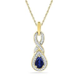 Womens Pear Lab-Created Blue Sapphire Solitaire Pendant 2/3 Cttw 10kt Yellow Gold - REF-13M9H