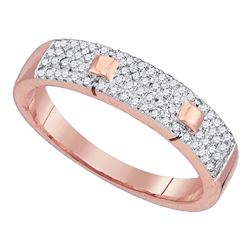 Womens Round Diamond Pave Band Ring 1/4 Cttw 10kt Rose Gold - REF-19K5Y