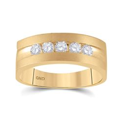 Mens Round Diamond Wedding 5-Stone Band Ring 1/2 Cttw 10kt Yellow Gold - REF-60K9Y
