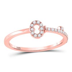 Womens Round Diamond Key Stackable Band Ring 1/8 Cttw 10kt Rose Gold - REF-12Y9N