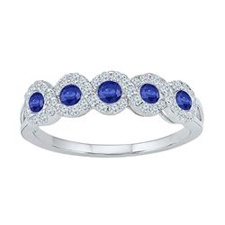 Womens Round Lab-Created Blue Sapphire Band Ring 1/2 Cttw Size 6 10kt White Gold - REF-18X9A