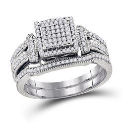 Diamond Cluster Bridal Wedding Ring Band Set 3/8 Cttw 10kt White Gold - REF-41K9Y