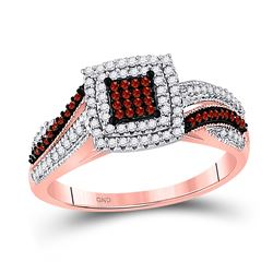 Womens Round Red Color Enhanced Diamond Square Cluster Ring 3/8 Cttw 10kt Rose Gold - REF-30H5R