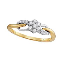 Womens Round Diamond Flower Cluster Infinity Ring 1/4 Cttw 10kt Yellow Gold - REF-19X9A