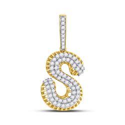 Mens Round Diamond S Letter Charm Pendant 1-1/3 Cttw 10kt Yellow Gold - REF-76M5H