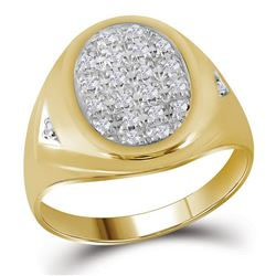 Mens Round Prong-set Diamond Oval Cluster Ring 1/4 Cttw 10kt Yellow Gold - REF-23Y5N
