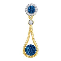Womens Round Blue Color Enhanced Diamond Cluster Pendant 1/3 Cttw 10kt Yellow Gold - REF-16F9W