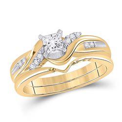 Princess Diamond Bridal Wedding Ring Band Set 1/2 Cttw 14kt Yellow Gold - REF-87X5A