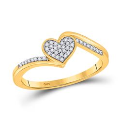 Womens Round Diamond Heart Ring 1/10 Cttw 10kt Yellow Gold - REF-10W5K