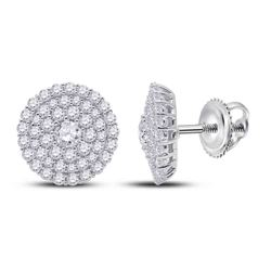 Womens Round Diamond Cluster Earrings 1 Cttw 14kt White Gold - REF-63K9Y