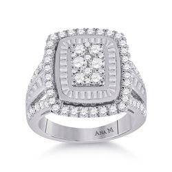 Womens Round Diamond Cluster Ring 1-7/8 Cttw 14kt White Gold - REF-140F9W