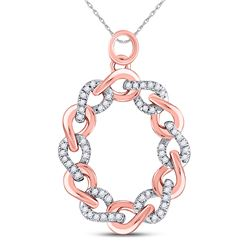 Womens Round Diamond Link Oval Pendant 1/8 Cttw 10kt Rose Gold - REF-12M9H