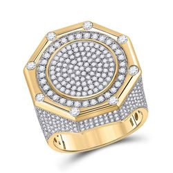 Mens Round Diamond Octagon Cluster Ring 2-3/4 Cttw 14kt Yellow Gold - REF-197W5K