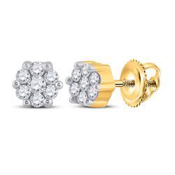 Womens Round Diamond Flower Cluster Earrings 1/6 Cttw 10kt Yellow Gold - REF-14F9W