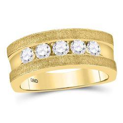 Mens Machine-Set Round Diamond 5-stone Wedding Ring 1 Cttw 10kt Yellow Gold - REF-126W9K