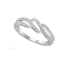 Womens Round Diamond Band Ring 1/10 Cttw 10kt White Gold - REF-14F5W