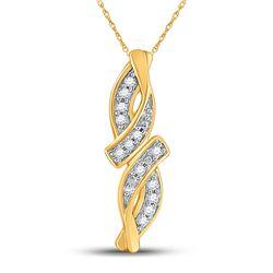 Womens Round Diamond Bypass Infinity Pendant .02 Cttw 10kt Yellow Gold - REF-3M5H