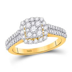 Womens Round Diamond Square Cluster Ring 3/4 Cttw 14kt Yellow Gold - REF-49A9M