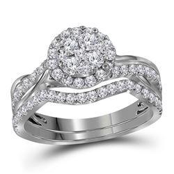 Round Diamond Bridal Wedding Ring Band Set 1 Cttw 14kt White Gold - REF-68R5X