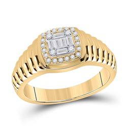Mens Baguette Round Diamond Square Ring 1/3 Cttw 14kt Yellow Gold - REF-65H5R