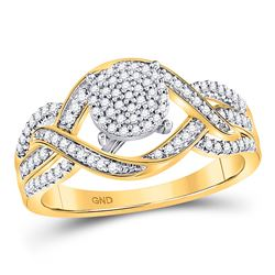 Womens Round Diamond Circle Cluster Twist Ring 1/4 Cttw 10kt Yellow Gold - REF-21X5A