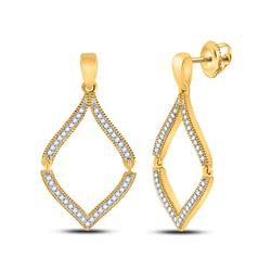 Womens Round Diamond Dangle Earrings 1/2 Cttw 10kt Yellow Gold - REF-19K5Y